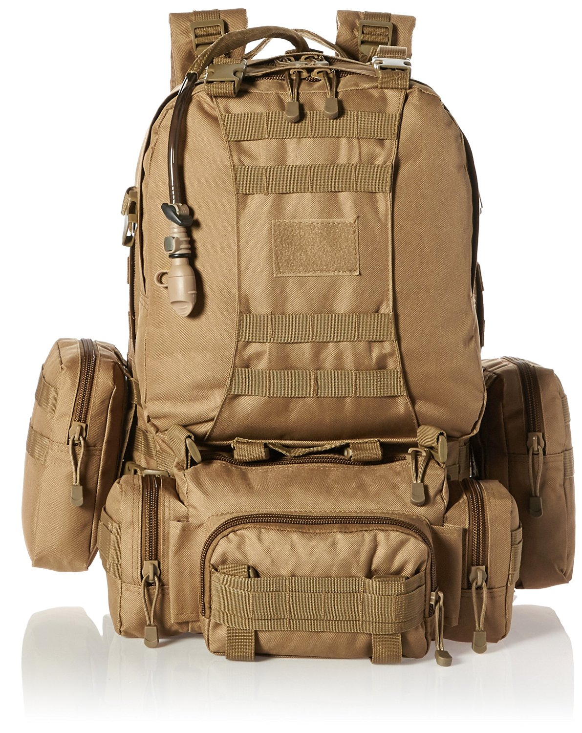 Monkey Paks Tactical Backpack Bundle with 2.5L Hydration Water Bladder and 3 Molle Bags
